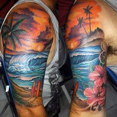 743a9414ebf65 Cool Beach Tattoos For Men Half Sleeve Ocean Sleeve Tattoos, Nature Tattoo  Sleeve, Full