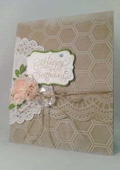 shabby chic cards stampin up Shabby Chic Karten, Shabby Chic Cards, Happy Birthday Vintage, Happy Birthday Cards, Paper Cards, Diy Cards, Envelopes, Hexagon Cards, Embossed Cards