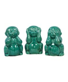 Take a look at this Turquoise Hear No, See No Monkey Set by Urban Trends Collection on #zulily today!
