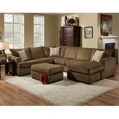 Chelsea Home Robbins Sectional Upholstery: Cornell Cocoa