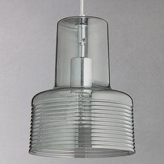 Buy John Lewis Damon Ribbed Glass Pendant Light, Smoke from our Ceiling Lighting range at John Lewis & Partners. Copper Pendant Lights, Glass Pendant Light, Glass Pendants, Pendant Lamp, Pendant Lighting Bedroom, Bedroom Light Fixtures, Light Bedroom, Bedroom Decor, Led Rope Lights