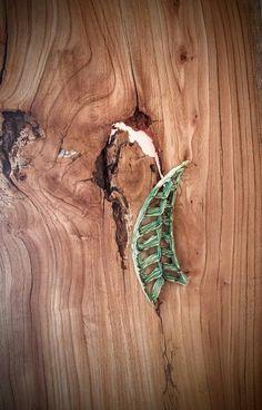 Broche de cerámica 3D  con forma de hoja en color verde cobre. Realizado a mano de forma artesanal. Cerámica Alcay