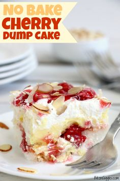 No Bake Cherry Dump Cake - Bitz & Giggles - - An easy, no-bake cherry trifle dessert with layers of angel food cake, sour cream, pudding, cherry pie filling and whipped topping. Tiramisu Dessert, Trifle Desserts, Cherry Desserts, Cherry Recipes, Easy Desserts, Desserts With Cherries, Layered Pudding Desserts, Cherry Pie Filling Desserts, Baking Desserts