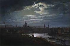 J. C. Dahl - Dresden in moonlight [Mondschein, Dresden]