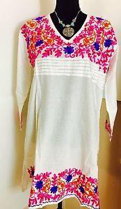 Women 100 Cotton Kurti Kurta Tunic Dress Top Hand Embroidered White Size XL   eBay