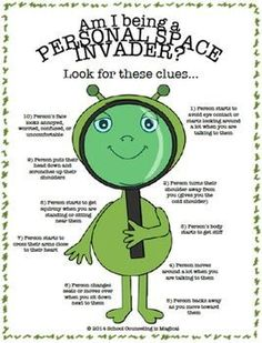 """Kids don't always realize that they are doing things that are an invasion of personal space. This poster will teach kids to pay attention to the body language of others so that they can avoid becoming a personal space invader. If you like this worksheet, I encourage you to check out my """"Race to Personal Space Board Game"""" The Race to Personal Space: A Social Skills Board Game... Space Activities For Kids, Therapy Activities, Counseling Activities, Therapy Ideas, Panda Activities, Kids Therapy, Therapy Worksheets, Therapy Games, Family Therapy"""