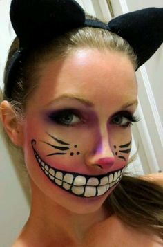 This would be the make up for the Cheshire cat because I think this is pretty accurate. The make up is done well in a way where it looks real, another thing I would add would be some purple and white strips. I picked this example of make up because it displays the appearance that we all know of the Cheshire cat. This make up style is simple but it also reflects the character. Plus, I really like how the mouth is drawn.