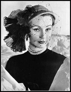 Sophie Malgat wearing Rose Descat, 1952.  Photograph by Guy Arsac.