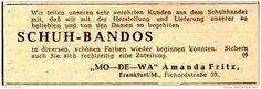 Original-Werbung/ Anzeige 1948 - SCHUH- BANDOS (PUMPSHALTER)/ MO-DE-WA AMANDA FRITZ - FRANKFURT - ca. 80 x 30 mm