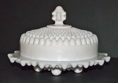 Vintage milk glass round covered butter dish