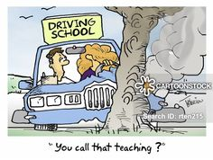 CartoonStock - 'You call that teaching? Driving School, Driving Test, Driving Instructor, Teaching Skills, You Call, Car Crash, Desktop, Driving Training School