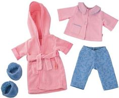 """Haba Dress Set Good Night by HABA. $36.99. HABA 3766 - HABA 3766 - It's time for bed! Lotta and her friends love to get snuggly in their PJ's and bathrobe. Outfit fits HABA 15"""" dolls. Set includes PJ top and bottoms, bathrobe and slippers. Recommended for 18 months and up."""