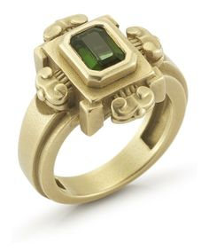 Kieselstein : Pre-owned: gold and green tourmaline 'Cord' ring : style # 336459201