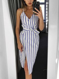 Shop Contraste Stripes Belted Envolvido Vestido Casual – Discover sexy women fashion at Boutiquefeel Source by SouthernBlondeChic dress Casual Dress Outfits, Classy Outfits, Simple Dresses, Summer Dresses, Long Dresses, Elegant Dresses, Pretty Dresses, Simple Dress Casual, Dresses Dresses