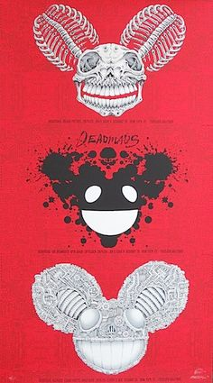 Deadmau5 w/ Erol Alkan, Die Antwoord, Afrojack, Skrillex, and Joh & Dave P - uncut silkscreen concert poster (click image for more detail) Artist: EMEK Venue: Roseland Ballroom Location: NYC, NY Conce