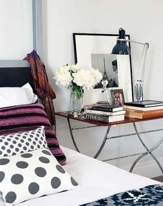 Interior Design Home Decor Rustic White Scandinavian side bed table