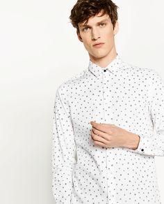 Image 2 of SLIM FIT SKULL PRINT SHIRT from Zara Online Zara, Office Prints, Skull Print, Printed Shirts, Slim, Shirt Dress, Fitness, Mens Tops, Clothes