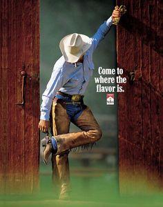 The Print Ad titled Marlboro man, 2 was done by Leo Burnett USA advertising agency for Marlboro . Marlboro Cowboy, Marlboro Man, Vintage Advertisements, Vintage Ads, Vintage Posters, Vintage Cigarette Ads, Marlboro Cigarette, Mustache Men, Cowboy Pictures