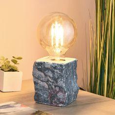 Lampa stołowa Stone, szary marmur   Lampy.pl Led A Pile, Marble Block, Led Röhren, Light Bulb, Led Lamp, Table Lamp, Lights, Stone, Furniture