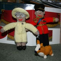 Knitted Queen, Prince Philip and Corgi.
