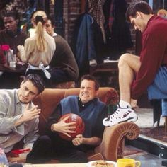 Joey and Chandler...lol when Phoebe's boyfriend was hanging out of his shorts
