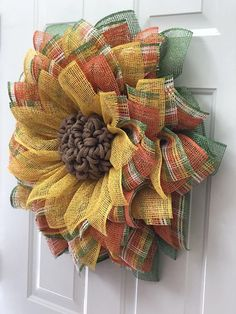 Sunflower Wreath Burlap Wreath Burlap Sunflower Wreath by ophelia - Wreaths - Burlap Flower Wreaths, Sunflower Wreaths, Deco Mesh Wreaths, Holiday Wreaths, Door Wreaths, Wreath Burlap, Burlap Wreath Tutorial, Wreaths For Front Door, Burlap Crafts
