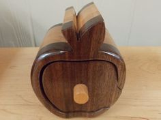 Bandsaw Keepsake Apple Shaped Jewelry Box made from Walnut, Cherry, and Oak Inlay 1 Drawer Jewelry, Ring, Bracelet Box Gift for Teacher by JandCWorkshop on Etsy