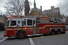 """Captured FDNY L3 """"Recon"""" heading West on Greenwich Avenue. FDNY Ladder 3 is stationed with Battalion 6  At 108 E. 13th St. New York, New York 10003"""