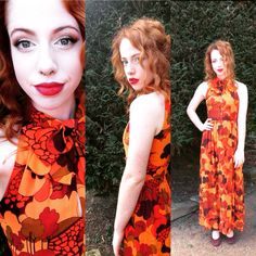Isabel in iconic 60 's/70's print stylised woodland print, cotton voile maxi dress ....  STUNNING... Bought from #Twisting Vintage, Mittagong, NSW