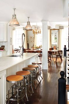 Antique light fixtures in the kitchen and dining room