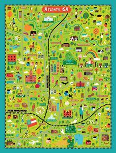 Illustrated map of Atlanta, GA for True South Puzzle Co. by Nate Padavick (idrawmaps.com)
