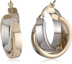 Duragold 14k Yellow Gold or White Gold or Two-Tone Satin and Polished Crossover Hoop Earrings $233.54 (73% OFF) + Free Shipping