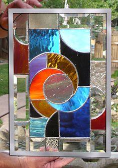 Vitrail fenêtre Panneau chaud tourbillon par stainedglassfusion