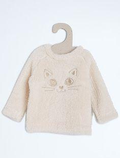 Jersey imitación pelo de borreguito con cabeza de gato Bebé niña