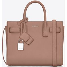 Saint Laurent Classic Nano Sac De Jour Bag (€1.410) ❤ liked on Polyvore featuring bags, handbags, shoulder bags, brown leather handbag, genuine leather purse, leather purse, brown purse and shoulder strap bag