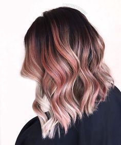 pink blonde brown ombre hair