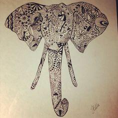 Zentangel elephant