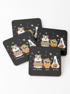 'Trick-or -Dog treat' Coasters by teaseBYjteez Cold Drinks, Coaster Set, Dog Treats, Halloween Decorations, Vibrant, Dogs, Prints, Cool Drinks, Doggie Treats