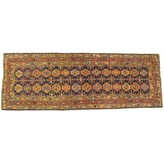 Antique Persian Kurd Runner with Repeating Geometric Design in Jewel Tones | From a unique collection of antique and modern persian rugs at https://www.1stdibs.com/furniture/rugs-carpets/persian-rugs/