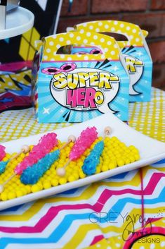 Themed rock candy at a girly superhero birthday party! See more party ideas at CatchMyParty.com!