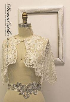 Glam Vintage Looking Swarovski Crystal Sash Belt on Ivory satin ribbon, Oh My!