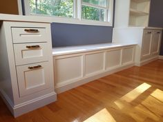 Great little window bench for getting your shoes on, having a place to put your shoes without see them. This elegant bench opens up on top to give you that added storage.  American Construction  480-404-3033 AmericanConstructed.com #AmericanConstructed @AmericanConstructed