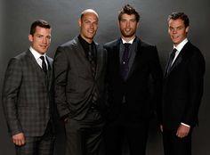 Ference, Getzlaf, Burns and Rask at 2014 NHL Awards Nhl Awards, Boston Bruins, Burns, Hockey, Photo Galleries, Gallery, Roof Rack, Field Hockey, Ice Hockey