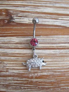 Belly Button Ring  Body Jewelry  Rhinestone  Pig by BriellesJewels, $9.00