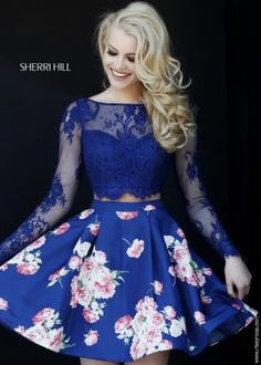 2015 Blue Floral Long Sleeve Lace Crop Top Short Prom Dresses