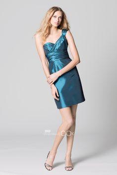Short Knee Length Bridesmaid Dress one shoulder strap - BridesmaidLook.co.uk