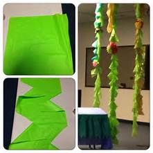 Used plastic tablecloths to make vines for weird animals vbs. cut long strips in varying shades, (use the creases, you get 4 per tablecloth). I stacked strips, then cut every down. Cut a curve toward the middle. Under The Sea Theme, Under The Sea Party, Jungle Party, Jungle Safari, Plastic Tablecloth, Plastic Tables, Thinking Day, Ocean Themes, Dinosaur Party