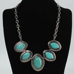 NEW!! Set of curvy turquoise earings with necklace ! Classic pieces you can pair with any outfit! buy for a friend or yourself ! Bids of $25 or more get a free gift !   Tibetan Silver and Turquoise bidding starts @ $12