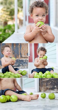 Sweet baby boy on the front porch eating apples