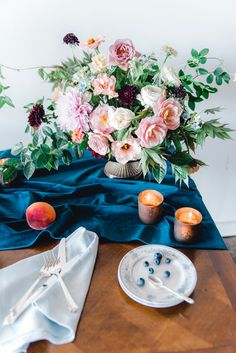 La Tavola Fine Linen Rental: Velvet Navy Table Runner with Tuscany Ocean Napkins | Photography: Heather K Cook Photography, Venue: The Westside Warehouse, Event Planning & Florals: A Beautiful Wild Design, Paper Goods: Plume & Fete
